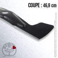 Lame tondeuse pour JOHN DEERE, Sabo SA33214. Coupe 46.9 cm